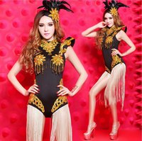 Wholesale 2016 Women s Stage Wear Jazz Dance Sequin Dj Costume one piece Jumpsuits Clothing Set Dancing Costumes