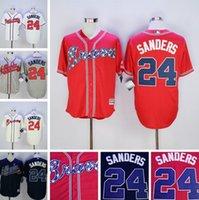 atlanta embroidery - Top Quality Cheap Atlanta Braves Jerseys Deion Sanders Jerseys Authentic Stitched Baseball Jerseys Embroidery Logos