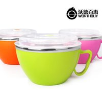 Cheap Wholesale-Noble quality Creative stainless steel bowl with lid Japanese ramen noodles bowl of instant noodles bowl cup bowl lovely tablewa