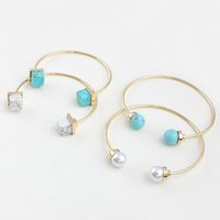 Wholesale Mix New Fashion Turquoise Pearl Cuff Bracelets Women Gold Plated Copper Cube Stone Bangles Gift bracciali donna Y2005