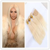 Wholesale Color blonde brazilian Virgin silky Straight hair Human Hair bundles with top lace closure bundles with closure