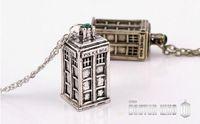 antique phone box - Retail Movie accessory Doctor Who Police Box Phone Box Pendant Necklace Vintage Silver Gold Colors Retro Antique Men Women Necklaces