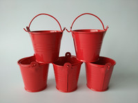 easter egg candy - Hot Red small easter egg pots cheap tin pails mini pails metal bucket candy pail package for wedding decoration SF
