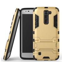 Étui pour téléphone mobile pour LG K7 5.0 pouces Slim couverture arrière doux avec Kickstand antichoc Robot Armor Hybrid caoutchouc Shell Protector