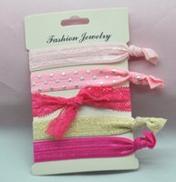 Wholesale 30pcs Women printed lace bow style giltter hair ties Elastic Accessories Trendy Hairbands Korean style
