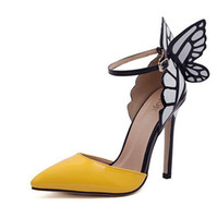 Wholesale New Butterfly Wings Pointed Toe Pumps Tip Fine With Spell Color High Heels Yellow Purple Thin Heel Women Shoes Plus Size