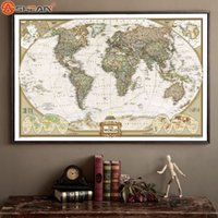 Wholesale Vintage Retro Matte Kraft Paper World Map Antique Poster Wall Sticker Home Decora CM