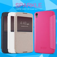 alcatel one touch view - NILLKIN sparkle flip PU Leather with smart view window hard plastic back cover for Alcatel one touch idol