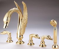 Wholesale 5pcs gold pvd finish brass swan tub shower faucets WITH handshower swan handles