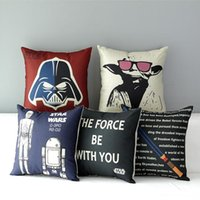 big pillow cases - Star Wars Pillow Covers moive darth yoda lightsaber Cushion Covers Linen Christmas Pillow Case Cushion Cover European Throw Pillow Cases
