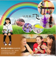 Wholesale Colorful Rubber band loom Kit DIY Wrist Bands Rainbow Loom Bracelet for kids bands C clips hook Colors