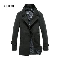 Wholesale Fall GUEQI Winter Men Wool Overcoat Casual Warm Men Wool Blends Coat GQ16