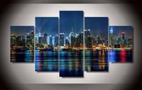 al por mayor marco de fotos múltiples-5 piezas HD Impreso Nueva York ciudad Pintura en la lona de la sala de impresión de la decoración cartel cuadro lienzo enmarcado multi panel lienzo arte de la pared