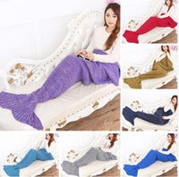 Wholesale yarn knitted Mermaid Tail blanket handmade crochet mermaid blanket adult throw bed Wrap super soft sleeping bag cm cm