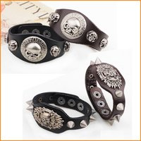 Wholesale Hip Hop Wide Leather Bracelet Cuff Rope Bangles Cowboy Rider Harley Motorcycle Retro Punk Fire Skull Rivet Men Bracelets