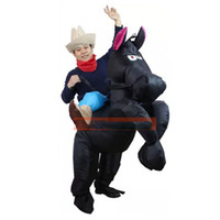 Wholesale White Gold Coffee Black Horse Inflatable Costume Cowboy Cowgirl Christmas Costume Cosplay Carnival Horse Rider Halloween Costume