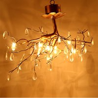 american light source - 2017 New style American Rustic creative led chandeliers crystal lamps G4 light source led chandelier lighting fixture with pendant