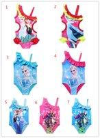 bathing suits kid - Girls Swimwear Bathing Suit Princess Frozen Anna Elsa Swimsuit Kids Ruffled Swimming Suit For Girl Children Swim Costume