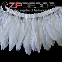 goose feathers - China Trading Manufacturer ZPDECOR Factory cm inch Hand Sorting Bleached White Goose Nagoire and Satinettes Feathers Trim for Sale