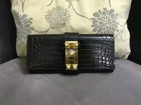 Wholesale High Quality Women Croco Printed Genuine Leather Designer Day Clutch Bag Evening Clutches Purses With Rivets