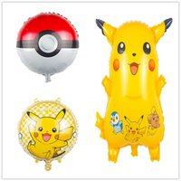 Wholesale Poke go Balloons ballon Cartoon Pikachu inch aluminum foil Balloon Children toys Kids Birthday Party Halloween Christmas Gifts