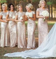 Wholesale 2016 Champagne Rose Gold Sequins Bridesmaid Dresses With Sleeves Long Bridesmaids Gown vestido madrinha Wedding Party Gowns
