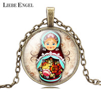 antique dolls pictures - Vintage Antique Jewelry Glass Cabochon Silver Long Chain Necklace Tradition Russian Doll Picture Pendant Necklace Women