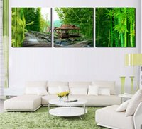 bamboo pavilion - 3 Modern panel wall art home decoration oil painting printed images Bamboo Pavilion decoration domestic No Frame
