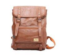 Acheter Hommes bruns sacs à dos-Mode Femmes Hommes PU Cuir Brown Noir Sac à dos Voyage Sacs à dos Sacs à dos