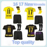 Wholesale 2016 best quality Dortmund Jersey kit socks REUS PULISIC DEMBELE AUBAMEYANG M GOTZE RUGBY JERSEYS HOME AWAY JERSEY KIT