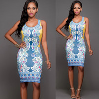 Wholesale Women summer sundress sexy sleeveless Digital Printing floral white mini silm bodycon dresses for party evening dress