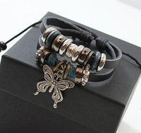 Other beaded butterfly bracelet - Leather Bracelet Butterfly Pendant Beads Leather Bracelet Butterfly Pendant Silver Pendants Leather Beaded Bracelet Rope