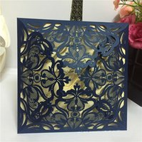 Wholesale 2016 New Cheap Laser Cut Wedding Invitations White Paper Black Wedding Invitation Card Flowers Hollow Wedding Cards