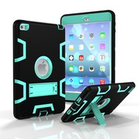 Wholesale Heavy Duty Shockproof Shell Kickstand PC Rubber Hybrid Robot Case Cover for iPad Mini