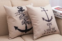 anchor textiles - Cotton Linen Throw Pillow Cushion Cover for Sofa Square Vintage Black Anchor Car Cushions Case Decorative Home Textiles Birthday Gift quot
