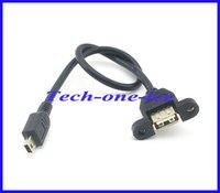 Wholesale USB A Female To Mini Pin Male Extension USB A F Panel Mount To Mini usb M Connector pin Adapter Cable