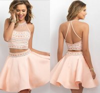 amazing art photo - Amazing Peach Coral Party Dresses two Pieces Sheer Neck Rhinestones Crystals Satin Short Homecoming Cocktail Prom Evening Dresses