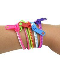 Wholesale 100pcs Mixed Colors Fluorescent Zipper Pull Bracelet Wristband Metal Zipper Bracelet Jewelry For Kids Girls Hot Sale Bracelet