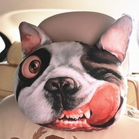 auto headrest cover - Cool D Printed SharPei Dog Face Car Neck Pillow Soft Auto Head Neck Rest Cushion Headrest Pillow Activated Carbon Seat Covers