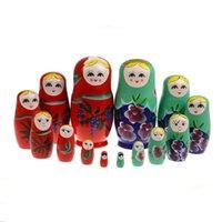 babushka fashion - Dolls Set CM Wooden Russian Nesting Babushka Matryoshka Hand Paint K5BO