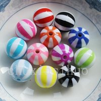 beach ball lot - mm Colors plastic Resin Watermelon Beach Ball Double color stripe beads Colors Washed Acrylic Round Ball Spacer Beads with Cross