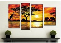 acrylic paint landscape - Frameless DIY Painting By Numbers Acrylic Drawing Art Set Canvas Wall Picture Handmade Oil Painting On Canvas African Landscape