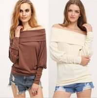 Wholesale 2017 Women s T Shirt Long sleeve Tops Boat neck Camisetas Spring Autumn Style T Shirt Female knitting women bat sleeve shirt poleras mujer
