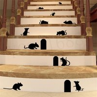 Wholesale cute Funny d cartoon Mouse Holes home wall sticker wall decor Children room Decor Vinyl Sticker Decal