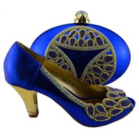 Cheap Amazing royal blue ladies shoes and handbag with rhinestones nice mathcing for party dress 1308-L56 heel 8cm
