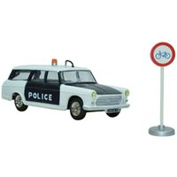 bicycle breaks - Dinky Toys New Editions Break Peugeot Police Car Models Toys Scale White with Black and Bicycle Lane Sign