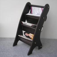 Wholesale wooden struction leather floor magazine newspaper exhibition display rack shelf organizer holder brown B
