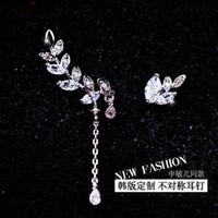 Cheap 2016 Korean ladies POP jewelry dangle custom star with a stud earring asymmetric fashion long earrings 2cm tassels length 1.2cm width 0.5cm