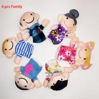 Wholesale DHL Pack Family Finger Puppet Toy Cartoon Animal Velet Finger Puppet Plush Baby Favor Toys Dolls Kid Child Unisex Educational Hand Toy