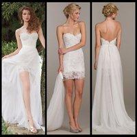 Wholesale 2016 Pieces Detachable Train Front Side Slit Chiffon Wedding Dresses Sweetheart Lace Bride Gown Beach robe de mariage